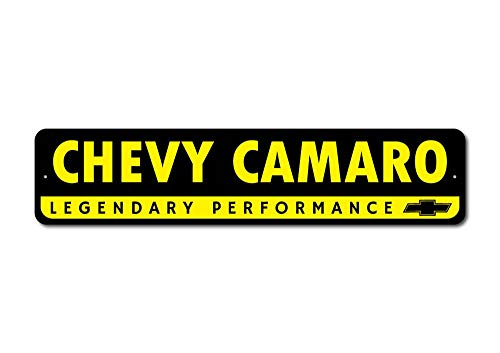 The Lizton Sign Shop Chevy Camaro Sign, Camaro Decor, Camaro Gift, Chevy Bowtie Decor, Car Man Cave Decor, Fathers Day Present - Quality Aluminum Sign - 4
