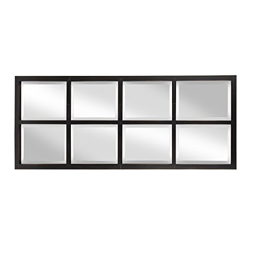 - Kate and Laurel Stryker Windowpane Framed 8-Pane Wall Accent Mirror, Antique Brown