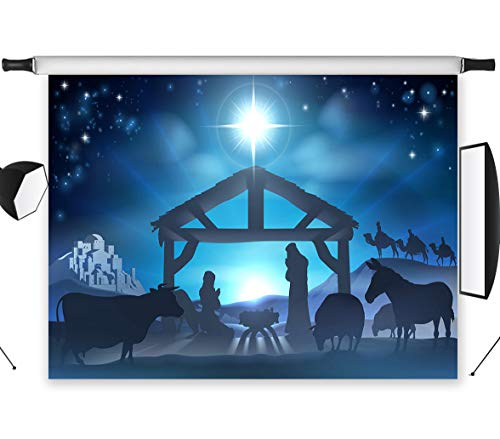 LB Birth of Jesus Backdrop for Photography 9x6ft Poly Fabric Christmas Night Manger Nativity Background Farm Barn Stable Christian Backdrop Customized Photo Background Studio Props