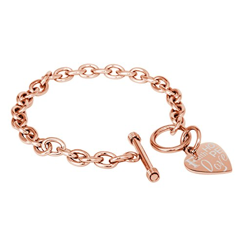 Tioneer Rose Gold Plated Stainless Steel Faith Love Hope Engraved Heart Tag Charm, Bracelet Only