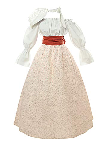 ROLECOS Civil War Pioneer Victorian Dress Prairie Colonial Floral Skirt and Blouse Set Red Flower M