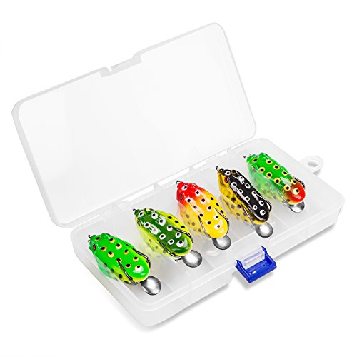 PLUSINNO 11.5g 5Pcs Hollow Frog Fishing Lures Soft Topwater Baits with Tackle Box for Bass Snakehead Saltwater Freshwater Fishing