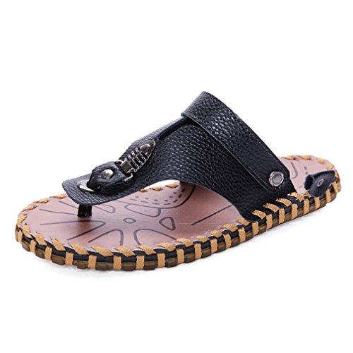 U-MAC Men's Flip Flops Thong Sandals Comfortable Slip on Leather Summer Beach Casual Slippers by U-MAC