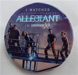 (DIVERGENT: I Watched ALLEGIANT In CINEMARK XD Movie PHOTO Pinback Button 2.25)