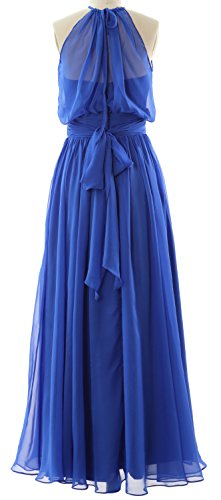 MACloth Women Halter Chiffon Long Bridesmaid Dress Formal Party Evening Gown Blanco
