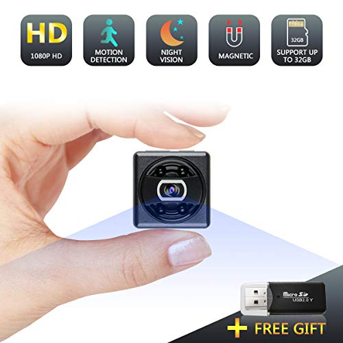 Mini Spy Hidden Camera, 1080P Night Vision Spy Camera Nanny Cam, Portable Hidden Video Camera with Loop Recording for Indoor Outdoor Use No Need WiFi
