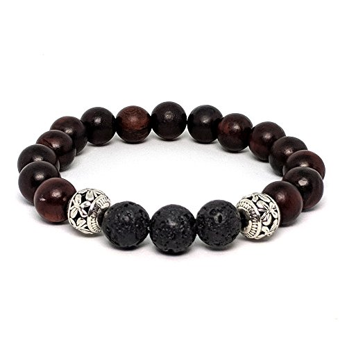 Essential Oil Bracelet: Diffuser Bracelet with Lava Stone, Mahogany Wood Beads & Silver Butterly Beads for - Wood Deep Mahogany