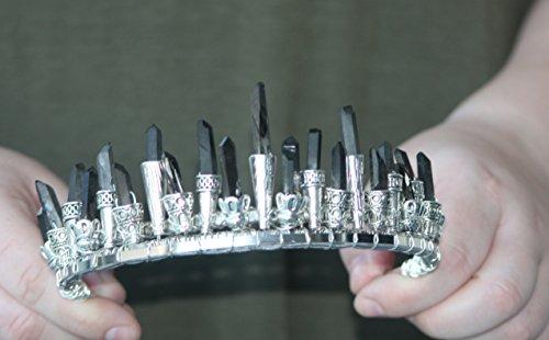 black quartz crystal crown, pagan quartz crystal tiara, moon goddess headpiece, cosplay headpiece, witch queen crown, high priestess by The Queen of Quartz