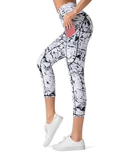 Dragon Fit High Waist Yoga Capri Leggings with 3 Pockets,Tummy Control Workout Running 4 Way Stretch Yoga Pants (Large, Capri29-Marble)