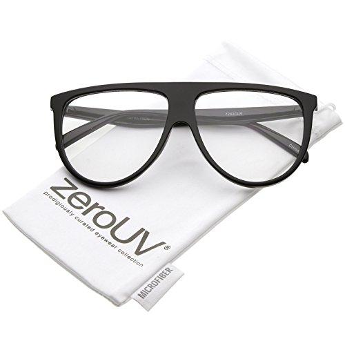 zeroUV - Oversize Bold Flat Top Clear Lens Aviator Eyeglasses 60mm (Black / - Flair Eyewear Frames