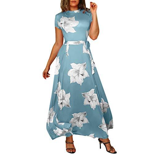 Gergeos Women Short Sleeve Floral Print Maxi Dress Elegant O-Neck Belted Ruched Ankle-Length Dress(Blue,XX-Large)