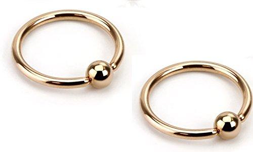 Pair of Rose Gold IP Hoop Nipple Rings 14g Captive Bead Rings 316L Surgical Steel - Sold as Pair