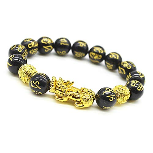 Feng Shui The Best 10mm Black Hand Carved Mantra Bead Bracelet with Golden Pi Xiu/Pi Yao Lucky Wealthy Amulet Brecelet