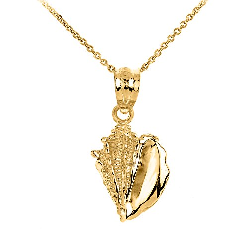 Polished 14k Yellow Gold Sea Shell Charm Pendant Necklace, 16