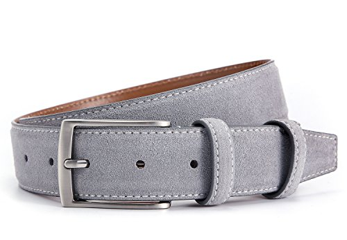Ground Mind Extra Thickness Suede Leather Belt for Men  38 Gray 38