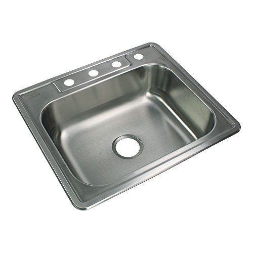 Gauge 20 Hole 4 - Transolid STSB25227-4 Select 4-Hole Drop-in Single Bowl 20-Gauge Stainless Steel Kitchen Sink 25-in x 22-in x 7-in Brushed Finish