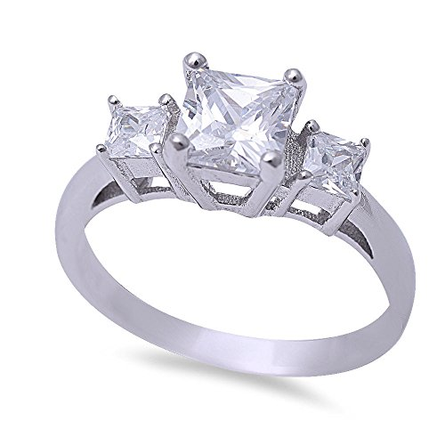 Cut Ladies Diamond Engagment Ring (1ct Princess Cut Cz Stone Fashion Engagment .925 Sterling Silver Ring Size 6)