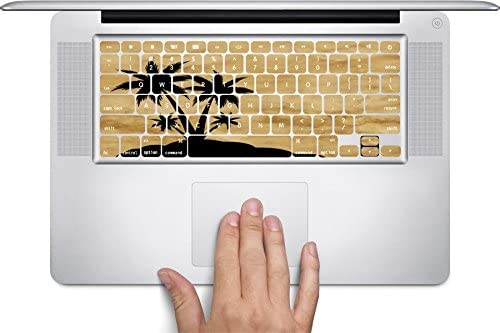 Black Silhouette Island on Parchment Background Keyboard Decals by Moonlight Printing for 13 and 15 inch MacBook Air//Pro//Retina