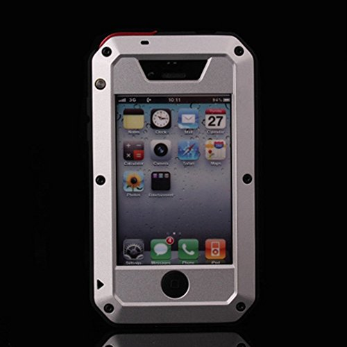 iPhone 4S Case,LISANA Gorilla Glass Luxury Aluminum Alloy Protective Metal Extreme Shockproof Military Bumper Heavy Duty Cover Shell Case Skin Protector for Apple iPhone 4/4S (Silver)