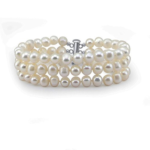 Cultured Pearl Row Freshwater 3 (3-Row White A Grade 6.5-7mm Freshwater Cultured Pearl Bracelet With rhodium plated base metal Clasp, 7.5 Inches)