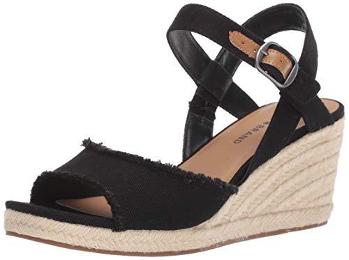 Lucky Women's MINDRA Espadrille Wedge Sandal, Black, 6.5 M US