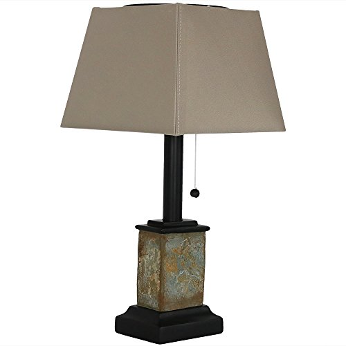 - Sunnydaze Outdoor Solar Table Lamp, Contemporary Square Slate, Weather Resistant and Cordless, 16 Inch