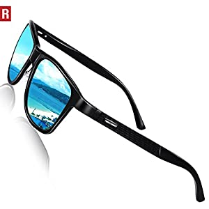 Rocknight Driving Polarized Wayfarer Sunglasses for Men Women Metal Black Frame Blue Mirrored Sunglasses UV Protection Outdoor Fishing Sunglasses