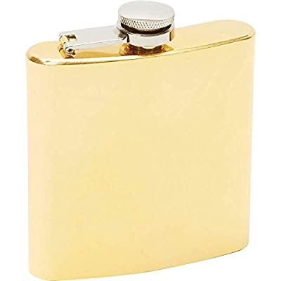 Maxam® 6oz Gold-tone Plated Stainless Steel Flask