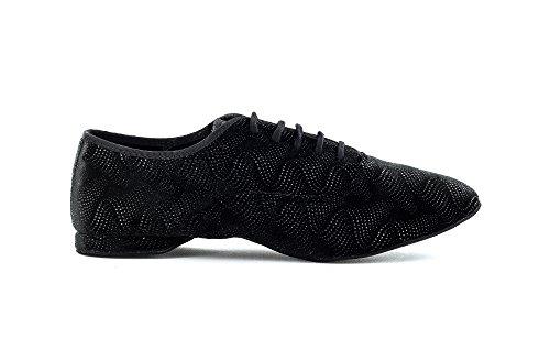 Scarpa da ballo Jazz in velluto nero Vogue con suola smezzata superflex , DRS by Vibram tacco 1 cm