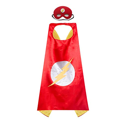 Childrens Red Flash Capes and Masks Sets Kids DIY Dress Up Costume for Parties ()
