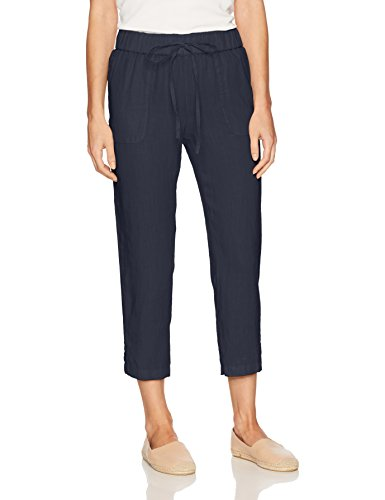 Margaritaville Women's Linen Drawstring Crop Pant, deep Navy, Medium (Pant Drawstring Crop)