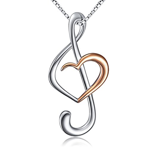 925 Sterling Silver Musical Note Treble Clef Rose Gold Plated Heart Pendant Necklace Jewelry for Women, Box Chain 18