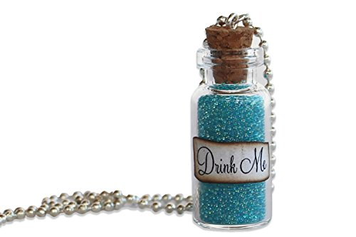 God of Gifts Alice in Wonderland Necklace - Alice in Wonderland Jewelry - Drink Me Blue Bubbles Glass Bottle Necklace and Pendant