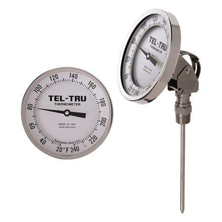 Analog Dial Thermometer, Stem 4'' L
