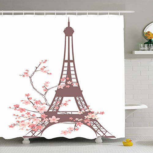 Ahawoso Shower Curtain 72x72 Inches Famous Paris Eiffel Tower Outline Among Pink French Flowers Parks Spring Season Abstract Blooming Waterproof Polyester Fabric Set with Hooks -
