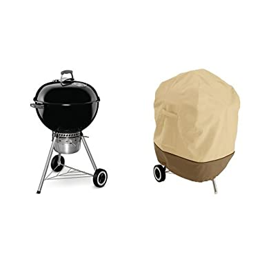 Weber 14401001 Original Kettle Premium Charcoal Grill, 22-Inch, Black with Classic Accessories Cover