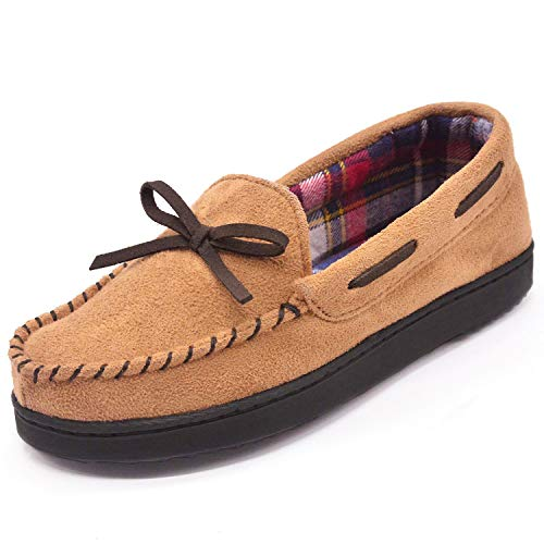 RockDove Women's Flannel Lined Moccasin Slipper with Memory Foam, Size 8 US Women, Tan (Womens Brown Moccasins)