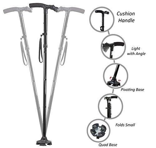 Medi-Cane Folding Travel Cane with Flashlight and Pivoting Wide Quad Foot Base Adjustable Hight Short Cane (Long)