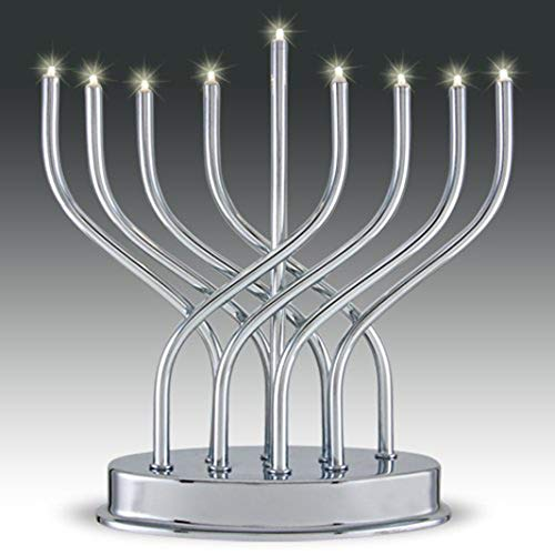 Aviv Judaica 9660 Highly Polished Chrome Plated Battery Operated LED Menorah Gray