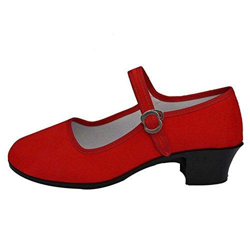 Angelliu Vintage Dames Laaggehakte Oude Beijing Schoenen Dansschoenen Pumps Rood