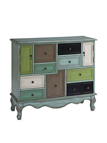Treasure Trove Accents Nine Drawer Two Door Cabinet, 40″ x 16″ x 36.5″, Multicolored