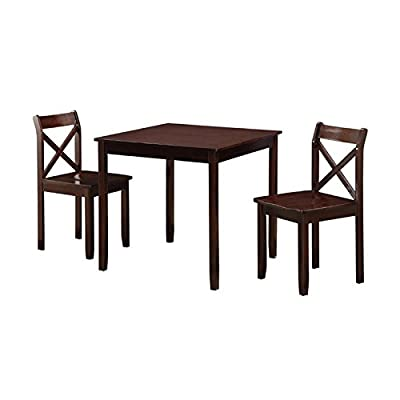 Boraam 21100 Jamie 3 Piece Dining Set, Cappuccino - Ready To Assemble construction (RTA): all tools are included making assembly easy as 1, 2, 3! Constructed with solid rubber wood, plywood veneer, & MDF with Veneer Choice of two different color finishes; cappuccino & cherry - kitchen-dining-room-furniture, kitchen-dining-room, dining-sets - 41gI2tWA0BL. SS400  -
