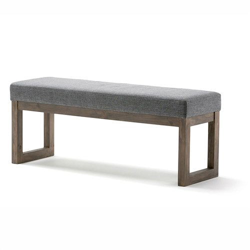 - LordBee Durable New Chic Modern Wood Frame Accent Bench Ottoman with Grey Upholstered Fabric Seat Solid Pine Wood Construction Entryway Living Room Display Bedroom Indoor Furniture