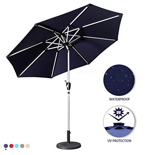 Aok Garden 9 Ft LED Lighted Patio Outdoor Umbrella Solar Power Market Table Fade-Resistant Umbrella with Push Button Tilt & Crank and 8 Sturdy Ribs (Solar LED,Navy Blue) ()