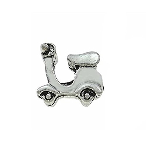 SEXY SPARKLES Scooter Bike Charm European Spacer Bead for Snake Chain Charm Bracelet (Scooters Spacers)