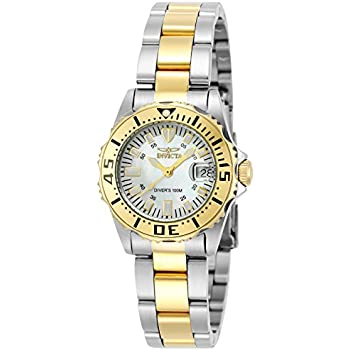 Invicta Womens 6895 Pro-Diver Stainless Steel 18k Yellow Gold-Plated and Mother-of-Pearl Bracelet Watch