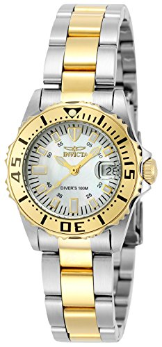 Invicta Women's 6895 Pro-Diver Stainless Steel 18k Yellow Gold-Plated and Mother-of-Pearl Bracelet Watch - Mother Of Pearl Yellow Bracelet