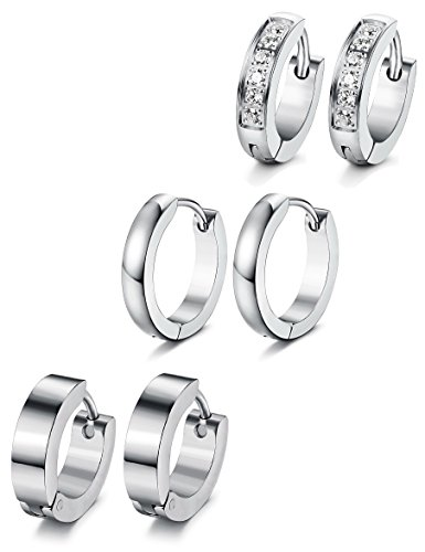 (Jstyle 3 Pairs Stainless Steel Mens Womens Hoop Earrings Huggie Ear Piercings CZ 18G S)