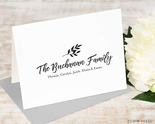 (BRANCH FOLDED - Personalized Family Stationery/Stationary Note Card Set)