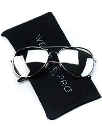 Gafas de sol con marco de metal, espejo de plata estilo aviador